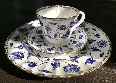 New SPODE Colonel Blue Made In England 3 Piece Set Luncheon Plate Cup Saucer • 43.16£
