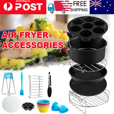 AU28.09 • Buy 8 In Air Fryer 230pc Accessories Frying Cage Dish Baking Pan Rack Pizza Tray Pot
