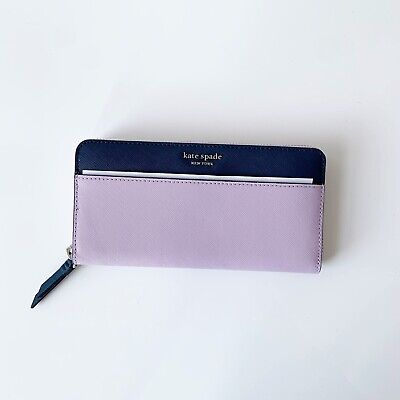$ CDN91.62 • Buy Kate Spade Cameron Large Continental Leather Zip Around Wallet Lavender Blue NEW