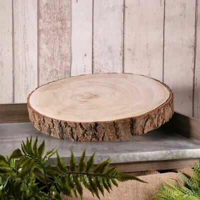 Natural Rustic Wood Log Slice Tree Wedding Table Centerpiece Cake Stand 33-37cm • 11.99£