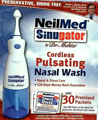 Neilmed Sinugator Cordless Pulsating Nasal Wash With 30 Premixed Packets • 32.99£