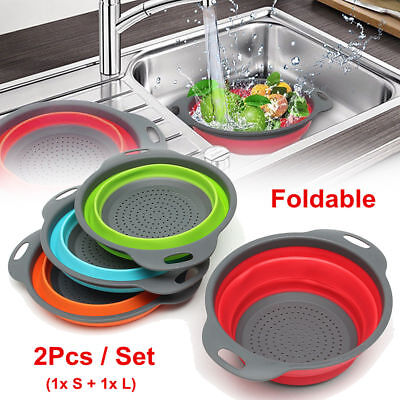 2Pcs Silicone Collapsible Colander Fruit Vegetable Draining Strainer Basket GB • 9.42£