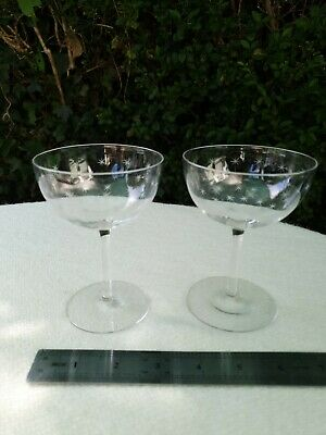 2 Authentic Victorian Crystal Glass Champagne Coupes - Wheel Cut Engraved Stars • 45£