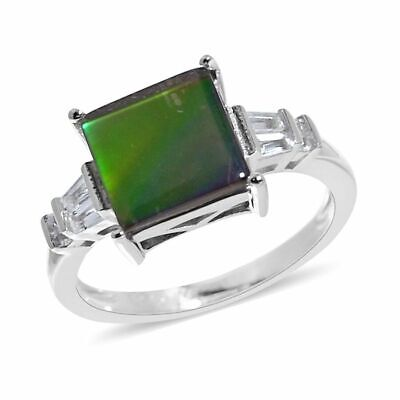 TJC Solitaire Sterling Silver Ring Women AA Ammolite White Topaz , 3.58 Ct • 49.99£