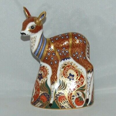 Royal Crown Derby Fawn Paperweight - Collecters Guild 1996 - Gold Stopper • 32£