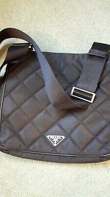 Prada Quilted Nylon And Leather Trim Crossbody Bag • 140£