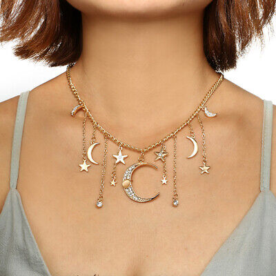 AU12.79 • Buy Bohemian Moon Star Pendant Chokers Necklaces Alloy Necklace Collar For Women
