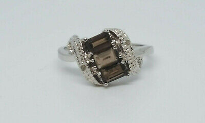 Solid 925 Silver Smokey Topaz And Diamond Ring Size O • 14.99£