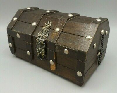 Wooden Vintage Treasure Chest Wood Jewellery Box Ring Storage Box Slight Damage • 4.99£