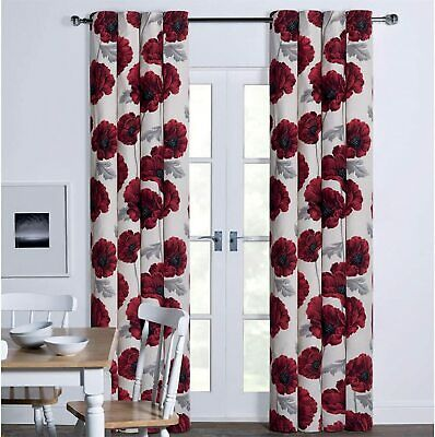 Red Poppy Floral Flower Printed Eyelet Ring Top Cotton 90  X 90  Lined Curtains • 39.95£