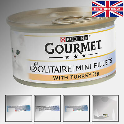Gourmet Solitaire Wet Cat Food Premium Fillets With Turkey In Sauce 85 G - Pa... • 13.24£