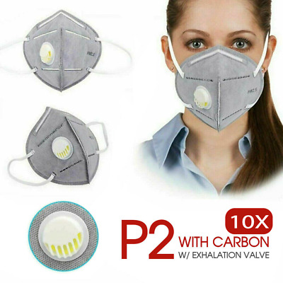 AU20.99 • Buy 10x P2/KN95 PM2.5 Anti Pollution Dust Respirator Mask Exhalation Valve AU Stock