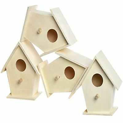 NEW Mini Wooden Birdhouses Box Of 4 For Kids To Decorate Arts And Crafts Tw GIF • 19.44£