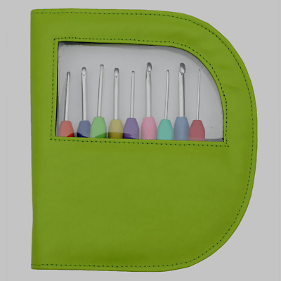 Set Of Knit Pro Waves Soft Grip Crochet Hooks In Stylish Green Case,Colour Coded • 26.99£