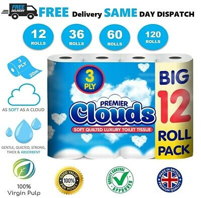 Premier Toilet Tissue Paper Rolls Luxury 3 Ply Strong BIG Super SOFT Quilted UK • 19.99£