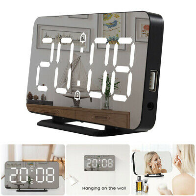 AU29.44 • Buy Dual USB Digital LED Clock Snooze Mirror Alarm Clock Time Night Mode Large