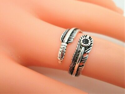 Feather Ring & Black Stone  925 Sterling Silver,wrap Style Adjustable & Gift Bag • 4.99£
