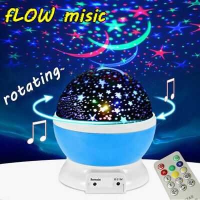 Rotating Star Projector Baby Child Gift Night Light Nursery Room MUSIC W/ Remote • 12.99£