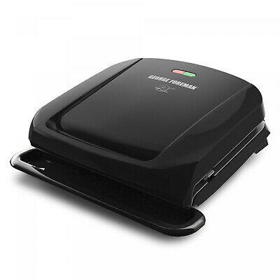 George Foreman 4-Serving Removable Plate Electric Grill And Panini Press, Black • 34.62£