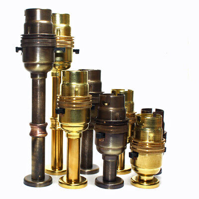 Solid Brass Switched BC B22 Lampholder C/w Fixing Plate Kit In Various Heights  • 9.16£