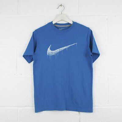 Vintage NIKE Blue Big Tick Logo Crewneck T-Shirt Youth Size Large • 17.95£