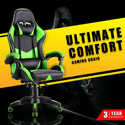 AU119.90 • Buy Computer Gaming Chair Executive Office Racer Recliner Chairs PU Leather Green