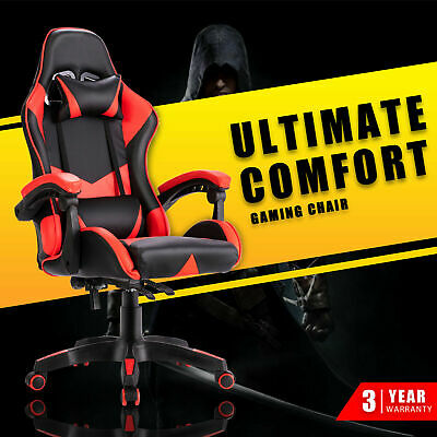AU129.90 • Buy Computer Gaming Chair Executive Office Racer Recliner Chairs PU Leather Red