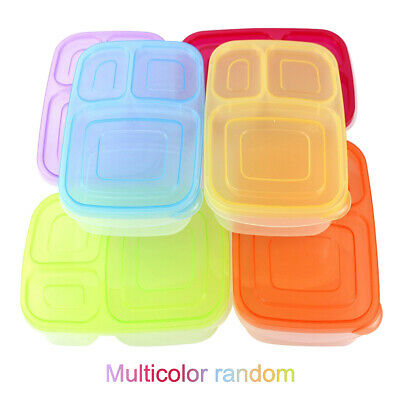 Plastic Bento Lunch Box Food Container With 3-Compartment Student Office Worker • 3.99£
