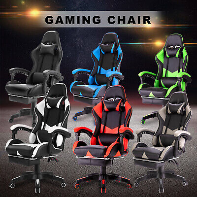 AU119.90 • Buy Gaming Chair Adjustable Executive Office Computer Racer Recliner PU Leather Seat