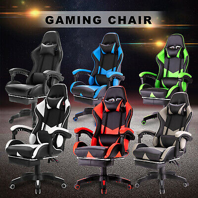 AU159.90 • Buy Gaming Chair W/Footrest Executive Office Computer Racer Recliner PU Leather Seat