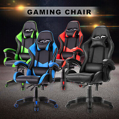 AU129.90 • Buy Computer Gaming Chair Executive Office Racer Recliner Chairs PU Leather Seating