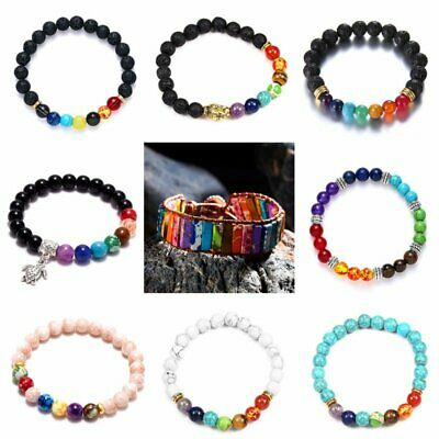 AU3.95 • Buy 7 Chakra Healing Balance Beaded Bracelet Natural Stone Yoga Reiki Prayer Gifts