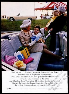 $37 • Buy 1964 Lincoln Continental Convertible 2 Car Color Photo Vintage Print Ad