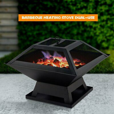 Fire Pit Garden Heater Barbecue BBQ Grill Stove Camping Charcoal Patio Outdoor • 27.92£