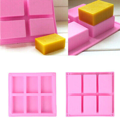 6 Cavity Silicone Rectangle Soap Mould Homemade DIY Cake Making Mold Craft UK • 4.89£
