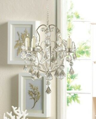 Ivory Baroque Candle Chandelier With Curlicues, Jeweled Ornaments Holds 4 Tapers • 27.66£