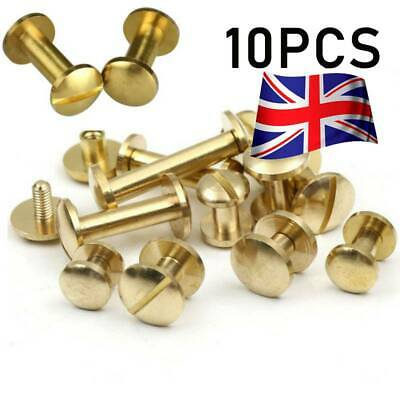 10 X Belt Screw Brass Rivets Stud Head Leather Craft Chicago Nail Wallet 8mm • 3.99£