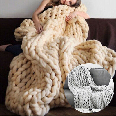 £28.95 • Buy Chunky Knit Blanket Giant Throw Wool Handwoven Bed Sofa Chair Mat 120 By 100 Cm