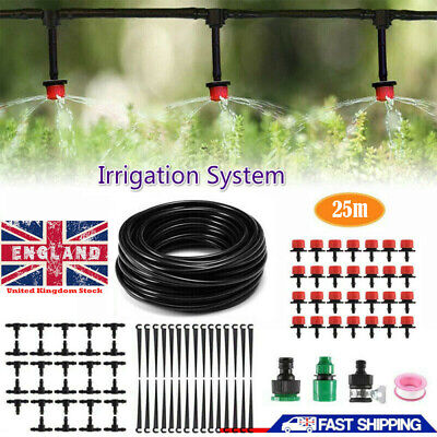Drip Irrigation System Kit With 25m Water Pipes Greenhouse Plants Garden Tool • 10.63£