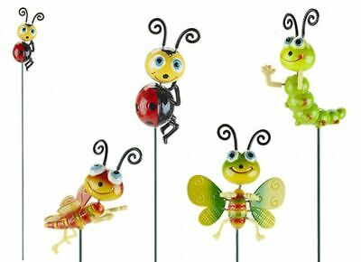 Set Of 4 Happy Insects On A Stick Garden Ornament Decoration Novelty Bright • 9.99£