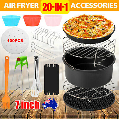 AU28.95 • Buy 20PCS 7 Inch Air Fryer Accessories Rack Cake Pizza Oven Barbecue Frying Pan Tray