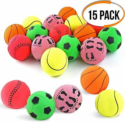15 Pack Rubber Dog Play Balls Fetch Catch Throw Chew Bouncy Pet Training Toys  • 13.49£