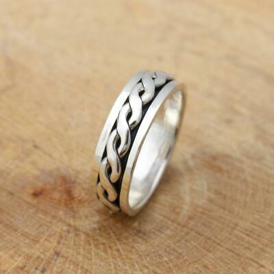 Mens Womens Plain 925 Sterling Silver Celtic Spinning Worry Band Ring Size Q • 16.95£