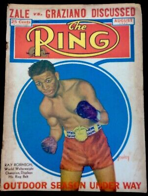 $11.99 • Buy August 1947 THE RING VINTAGE BOXING MAGAZINE Sugar Ray Robinson BX7
