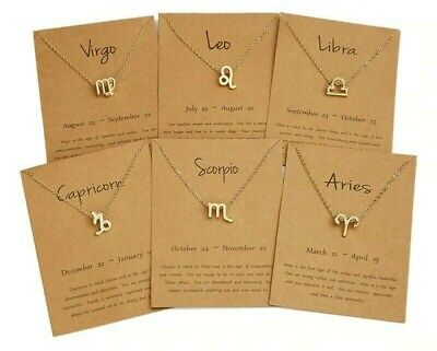Zodiac Sign Necklace 12 Constellation Gold Chain Pendant • 3.29£