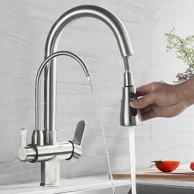£59 • Buy 3 Way Water Filter Tap Swivel Spout Pure Drinking Water Mixer Tap Brushed Nickel