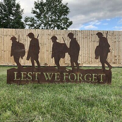 Lest We Forget Soldiers Scene Garden Soldier Statue Sign Lawn Feature Ornament • 53.99£