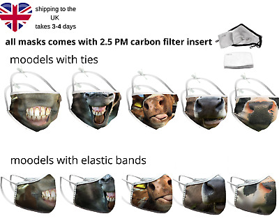 £12.50 • Buy Horse Head Face Mask Reusable Mask With Filter Cow Tongue Mask Cotton Washable