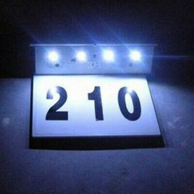Solar Powered LED Address Sign Routed Back Lighted Sign House Number Plaques • 10.99£