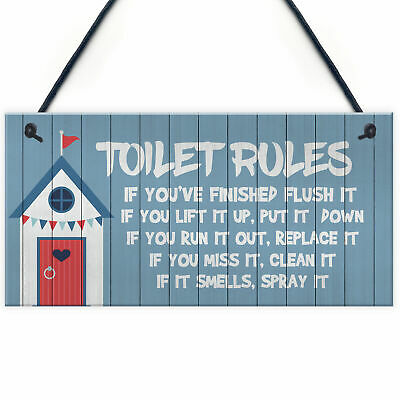 Toilet Rules Sign Nautical Theme Hanging Sign For Toilet Beach Home Decor • 3.99£